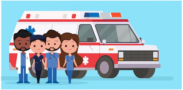 Ambulance with medical characters