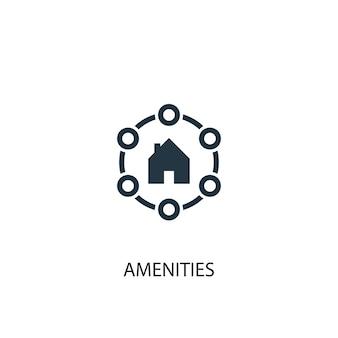 편의 시설 아이콘입니다. 간단한 요소 그림입니다. 편의 시설 개념 기호 디자인입니다. 웹 및 모바일에 사용할 수 있습니다.