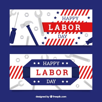 Amercian labor day banners with flat design