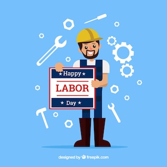 Amercian labor day composition with flat design