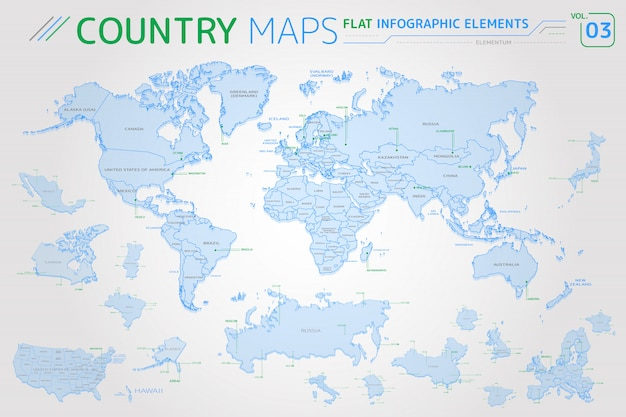 America, asia, africa, europe, australia, mexico, japan, canada, usa, russia, china vector maps