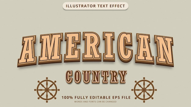 America country text effect eps file