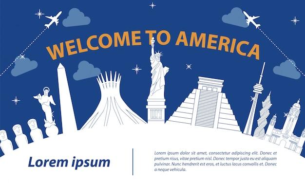America famous landmark silhouette style