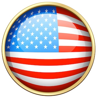 Дизайн флага америки на круглом значке