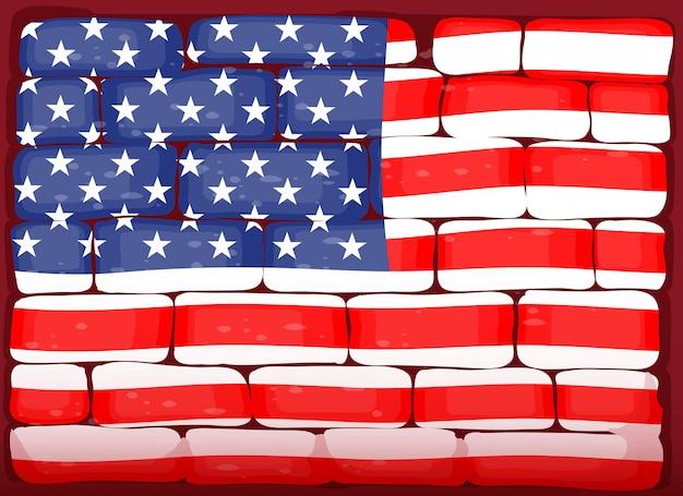 れんが造りの壁のアメリカ国旗