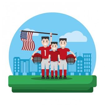 America football team with usa flag