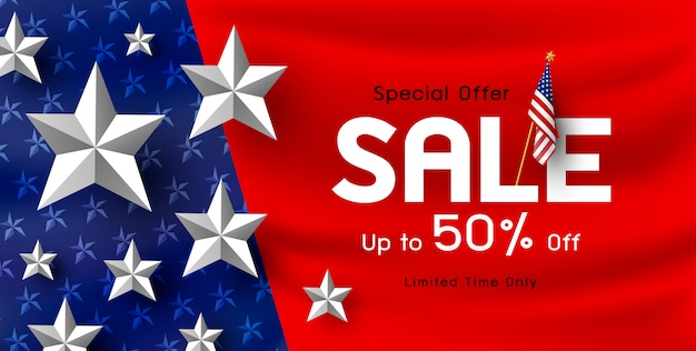 America holiday sale banner background