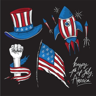 America independence day cartoon drawing elements