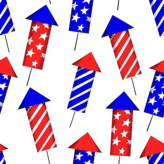 アメリカ独立記念日のシームレスパターン。ベクトルお祝いイラスト。 7月4日、花火