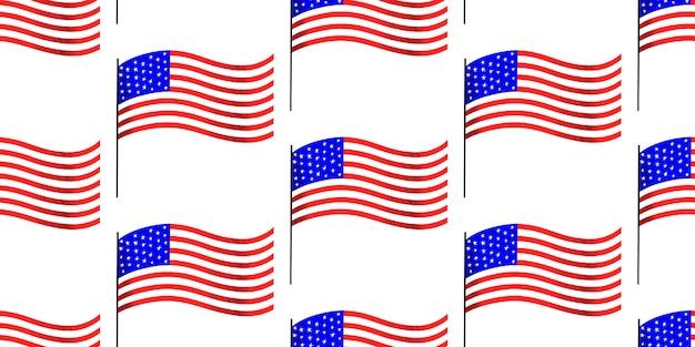 アメリカ独立記念日のシームレスパターン。ベクトルお祝いイラスト。 7月4日
