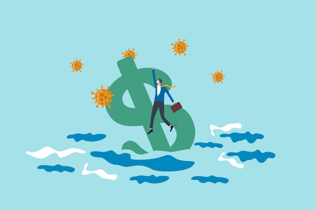 America jobless and unemployment crisis from covid-19 coronavirus or recession economy and financial crash concept, jobless businessman holding us dollar sign sinking into ocean with virus pathogen.