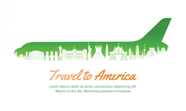 America landmark inside with plane shape,concept art