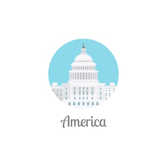 America landmark isolated round icon