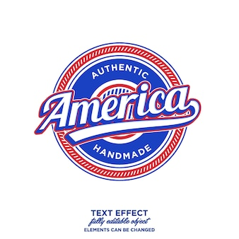 America lettering art and badge