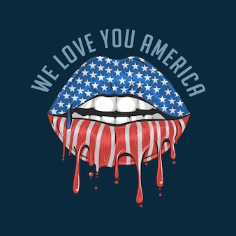 America lips flag we love you america
