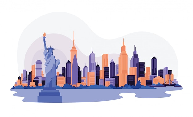 America new york city skyline sky scraper web illustration