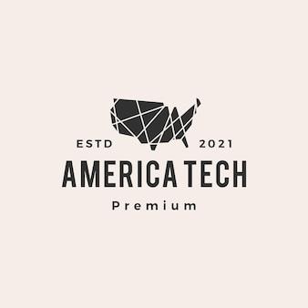 미국 기술 형상 다각형 hipster 빈티지 로고