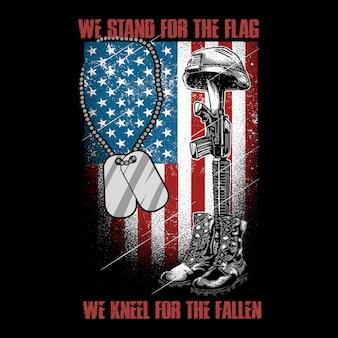 アメリカのベテランと機械銃の軍隊が倒れたベクトルの旗のひざの上に立つ