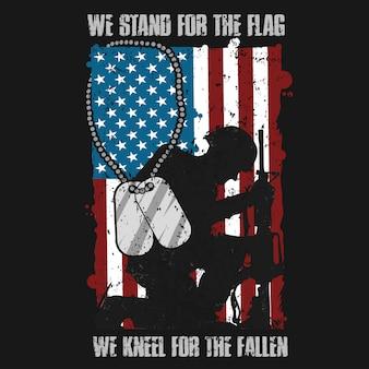 アメリカのベテラン軍は、倒れたベクトルの旗のひざの前に立つ