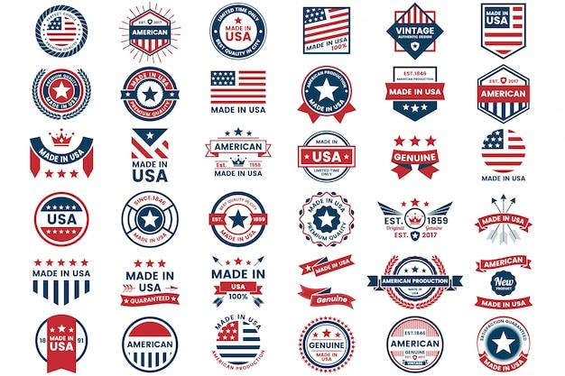 アメリカ、バナー、ポスターのベクトルラベル