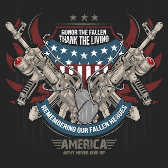 America weapon gun ak machine gun vector usa flag artwork