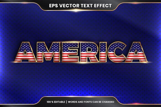 Америка с национальным флагом страны, редактируемый текстовый эффект с концепцией золотого цвета