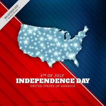 American abstract background with a map made up of stars