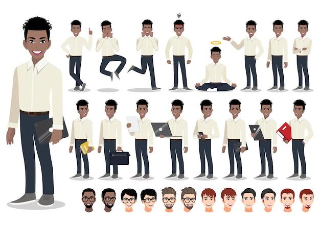 미국 아프리카 사업가 만화 문자 집합입니다. 오피스 스타일 스마트 셔츠에 잘 생긴 사업가입니다. 삽화