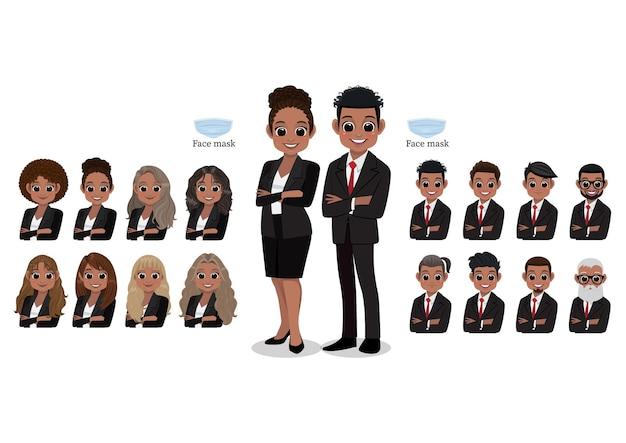 アメリカのアフリカの漫画のキャラクターの女性と男性のビジネスマンが笑っています。ヘアスタイルコレクション、イラスト