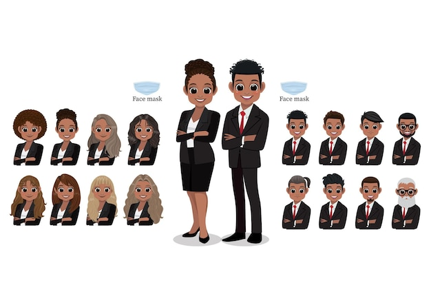 American african cartoon character female and male business people smiling. hairstyle collection,  illustration