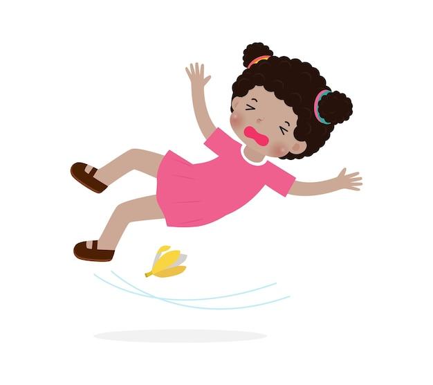 American african children slipping on banana peel vector illustration isolated on white background