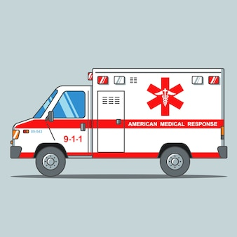 American ambulance on a gray background
