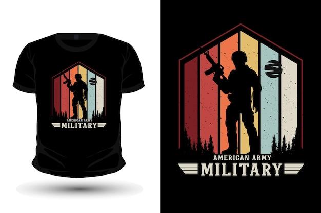 Дизайн футболки макета силуэта военной атрибутики американской армии