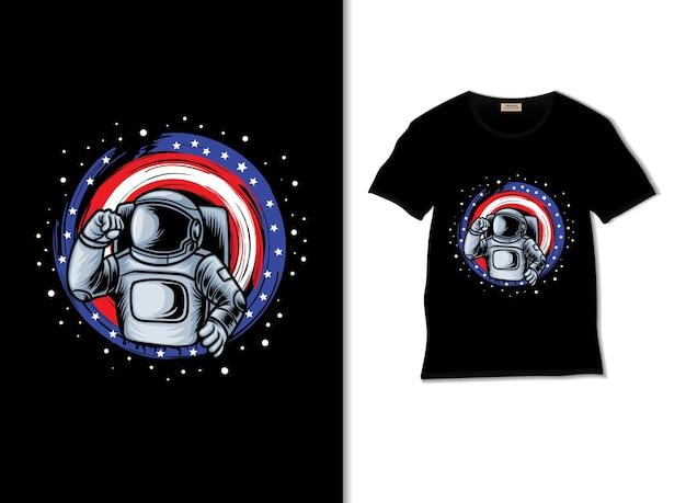 티셔츠 디자인으로 주먹을 움켜쥐는 미국 우주 비행사