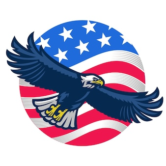 American bald eagle with united states flag as background