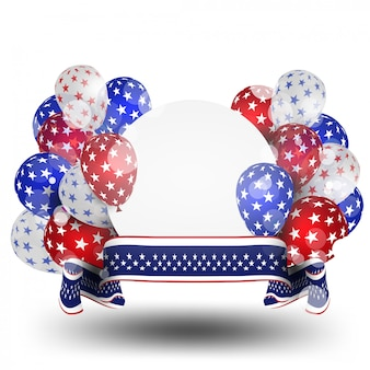 American balloons flag decor 4th of july celebration independence day sale promotion banner shopping online