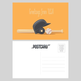 American baseball equipment  illustration.  element for airmail card sent from usa for travel to america concept with baseball ball and bat