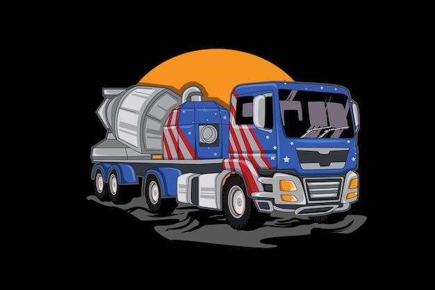 アメリカの大型トラックイラストベクトル