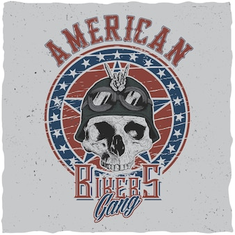 American bikers gang poster design with skull in motorcycle helmet or bandanna illustration