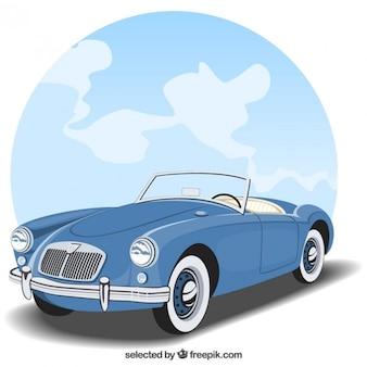 American blue vintage car