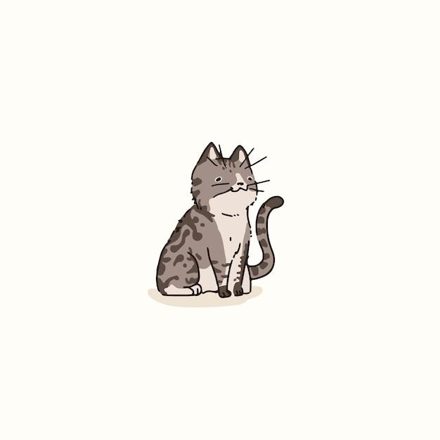 American bobtail  cat doodle element vector
