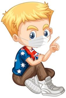 American boy character wearing mask
