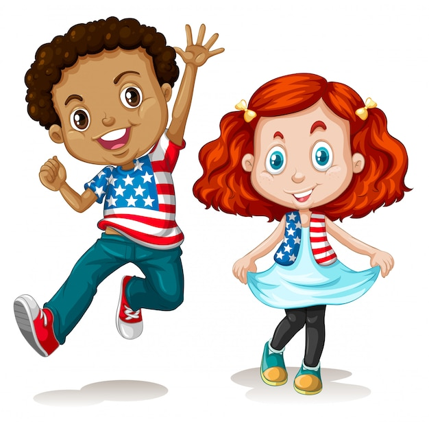 American boy and girl greeting
