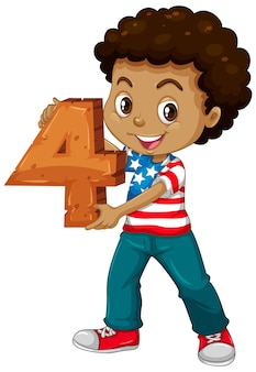 American boy holding math number four