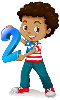 American boy holding math number two