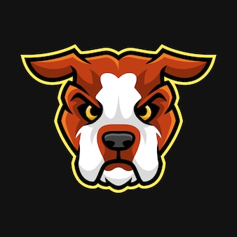 American bulldog head mascot or character vector
