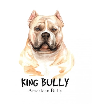American bully dog watercolor for printing.