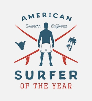 American california surfing emblem with man