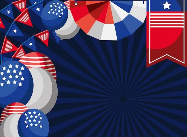 American celebration decoration balloons pennants