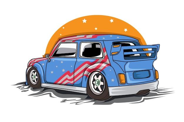 アメリカのクラシックカーのイラスト